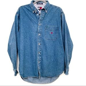 Tommy Jeans Long Sleeve Button Down Denim Shirt